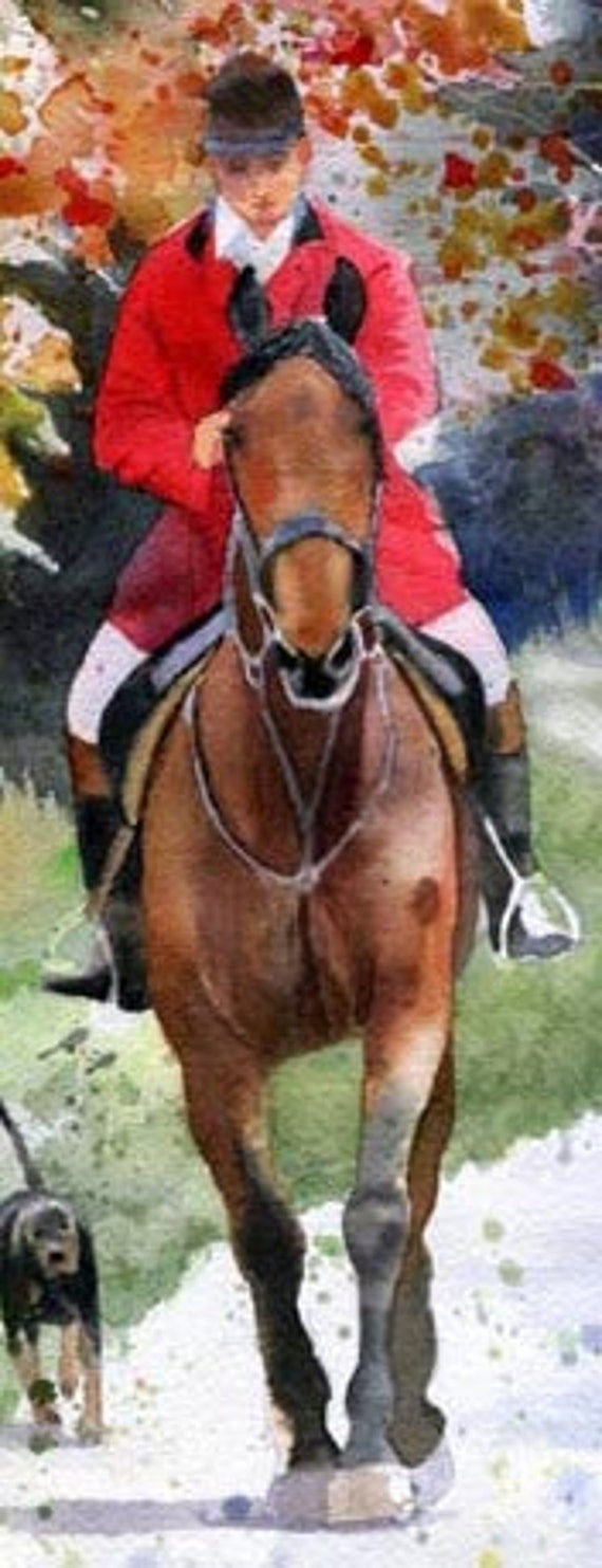 Giclée Foxhunting Horse Equestrian Painting Art Hounds Thoroughbred Warmblood