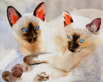 Siamese Cat art - PRINT  Watercolor Painting Artwork Artist Large Big Huge