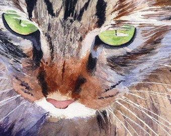 Maine Coon Tabby Cat Art Print of my Watercolor Painting .Pepper.
