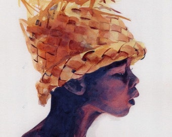 Print of my watercolor painting Abou African American Black Child