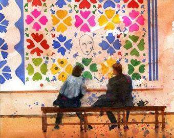 Matisse Reverie Art Print of Watercolor Painting