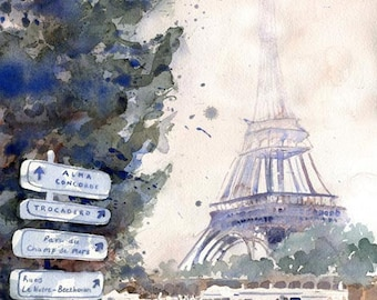 Eiffel Tower Art Print Travel from a Painting Wedding Honeymoon Gift La Tour Eiffel Paris France Europe from a watercolor painting