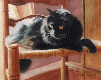 Black Cat Art PRINT of a Watercolor Painting Pet Portrait 4 Christmas Gift Large Big Huge Long Hair