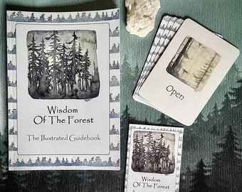 MeditationCard deck and Illustrated Guide - The Wisdom Of The Forest bundle - yoga gift - oracle cards - wellness - mental health