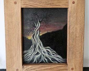The Ancestor Tree - Original landscape oil painting on canvas board