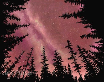 Northwest forest milky way painting print and poster - The Stars Turn