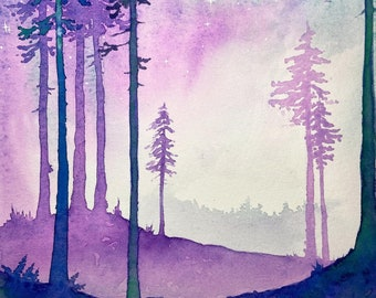 The Rainbow Fluorite Forest - original watercolour painting