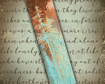 Double-sided metallic foil bookmark - Crystal Forests Copper and Chrysocolla