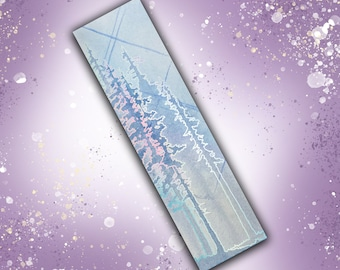 Double-sided hologram foil bookmark - Crystal Forests Moonstone and Rainbow Fluorite