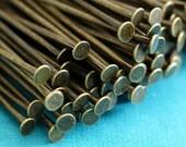 100pcs 2 inch Antique Bronze Headpins Findings 50mm