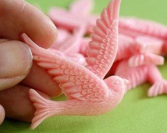 Sale 4pcs Pink Resin Flying Swallow Cabochon