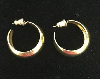 Classic Gold Hoop Earrings, 1980s, Pierced Earrings, Chunky Gold Hoops