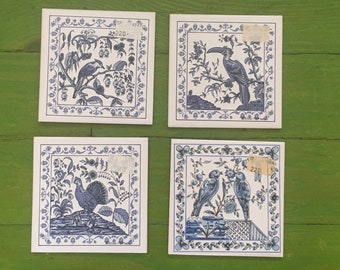Hand-Painted Ceramic Blue & White Tiles, Birds, Set of 4, Ceres of Coimbra, Portugal
