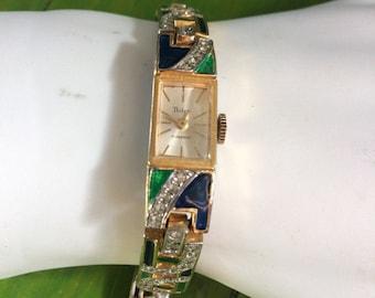 Pedre 17 Jewels Swiss Made, Enamel & Rhinestone Mechanical Bracelet Watch, Vintage Fashion Watch, Jazz Age