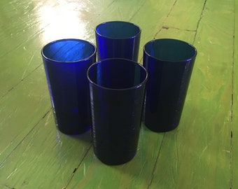 Solid Cobalt Glass Tumblers, Set of Four, Pure Blue Glass