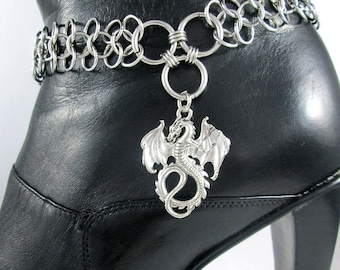 Winged Dragon Boot Bracelet Bling Chain Accessory Womens Sturdy Motorcycle Cosplay Chains Fantasy Personalized Jewelry