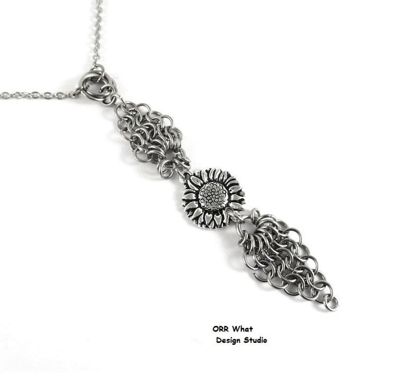 Sunflower Necklace or Choker and/or Earrings Garden Flower Gardener Girlfriend Gift Stainless Steel Chain Mail Endless Knot Unique Jewelry