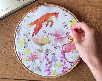 JOY Embroidery Kit, Fox & Wildflower Embroidery Kit