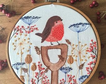 Embroidery Kit Bird , garden embroidery, Robin Bird, Garden Friend Collection