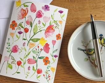 Artisan Letter Writing Set  - Spring Birds - Snail Mail Thinking of You Gift Set - Notecards, Writing Paper & Stitckers