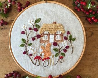 Embroidery Kit, Cottage Home, Bramble Cottage - English Cottage Kit