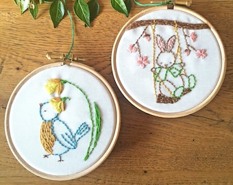 Spring Embroidery Kits - Spring Delight Collection -  - Bunny Embroidery Kit and Bird Embroidery Kit