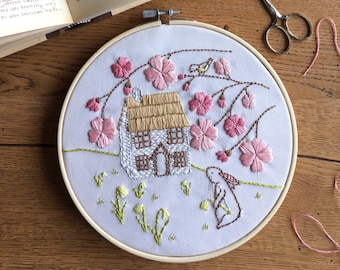 Cottage Home Embroidery Kit - Beginner Hand Embroidery Kit - Daffodil Cottage - Cottagecore Embroidery