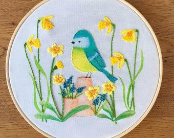Embroidery Kit - Spring Garden Bird  - Garden Friend Collection - Spring Blue Tit Pattern for beginners
