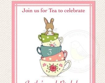Tea Party Invitation and Party Collection - Friends for Tea - Bunny Invitation - Printable Baby Shower Tea Party Invitation