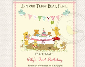 Teddy Bear Picnic Birthday Invitation - Printable and personalised - Pink or Blue Party Invitation