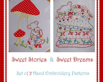 Sweet Dreams and Stories Mouse - Hand Embroidery PDF Patterns - Set of 2
