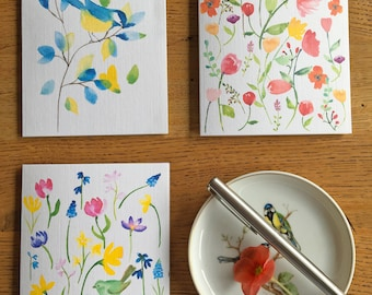 Spring Birds Notecards Set of 3 - Thinking of You Cards and Stickers
