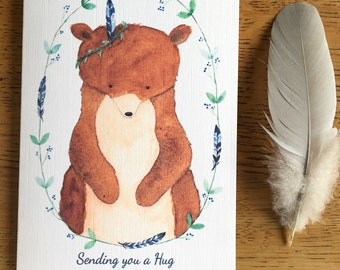 2 x Kind Words Cards and Stickers - Sending a Bear Hug and Wildflower Mouse Card
