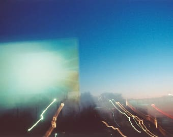 sunset drive-in: surreal photography. abstract photography. fine art photography. dreamy photography. multiple exposure photo. night sky art