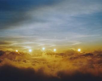 vespers: sunset photography. surreal photograph. clouds photography. sunset wall art. sky photo. hawaii art. zen decor. multiple exposure.
