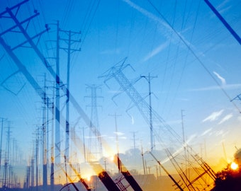 the way to the sun (two): surreal photography. industrial decor. powerline art. dreamy sunrise wall art. large fine art print. gary indiana
