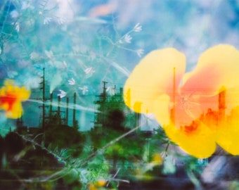 industrial organic: double exposure 35mm film photography. dreamy surreal art. industrial landscape wall art. botanical print. oil refinery