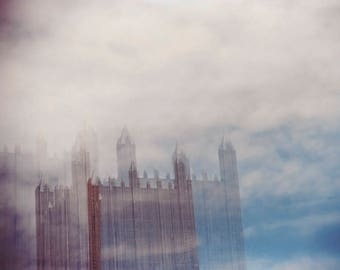 glass sky: pittsburgh art. surreal photography. architectural photo. sky clouds photography. multiple exposure photo. pittsburgh skyline art
