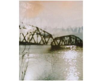 hazy: pittsburgh art. multiple exposure 35mm photo. industrial decor. abstract surreal dreamy art. pittsburgh bridge art print. river photo.