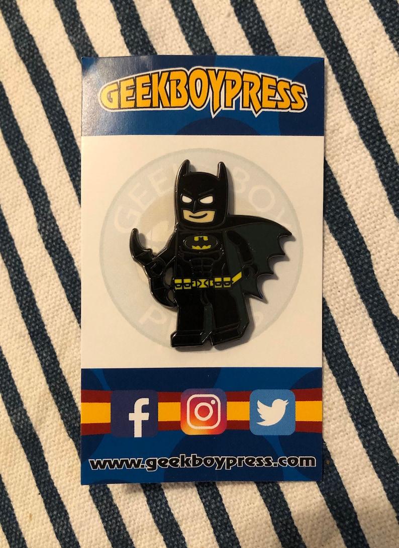 Brick Bat-man enamel pin