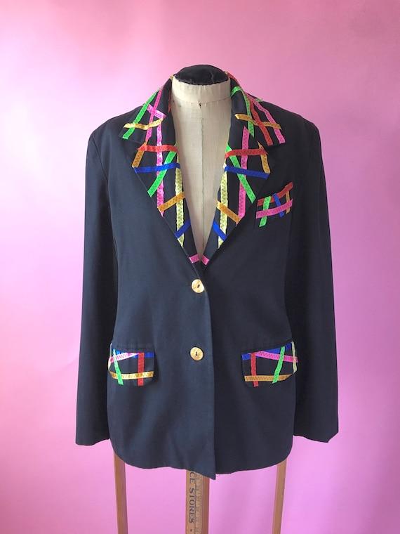 Vintage Black Blazer / Vintage Women's Blazer / 19