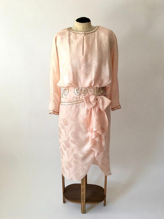 80s Vintage Pink Silk Dress