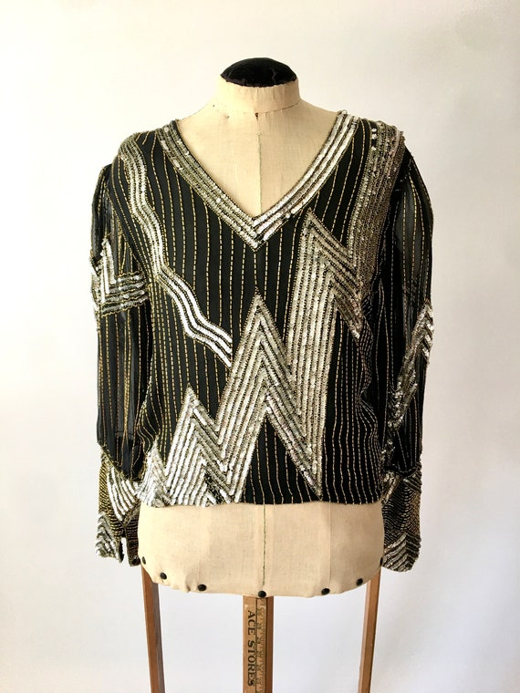 Vintage Sequined Blouse / Silk Blouse / 1980s Blou