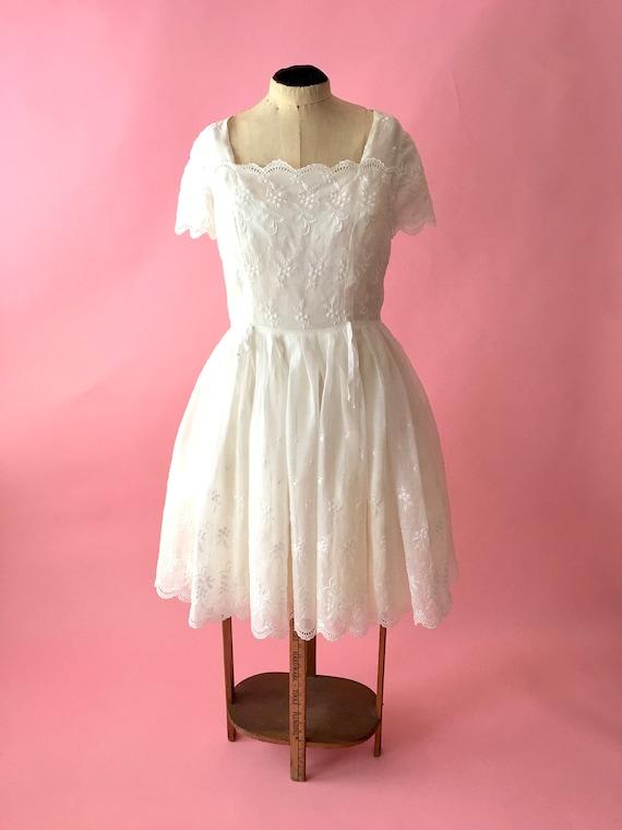 Vintage White Wedding Dress Tea Length