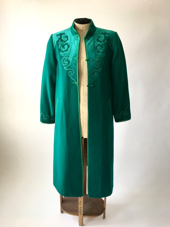 Vintage Wool Coat / Vintage Embroidered Coat / Vin
