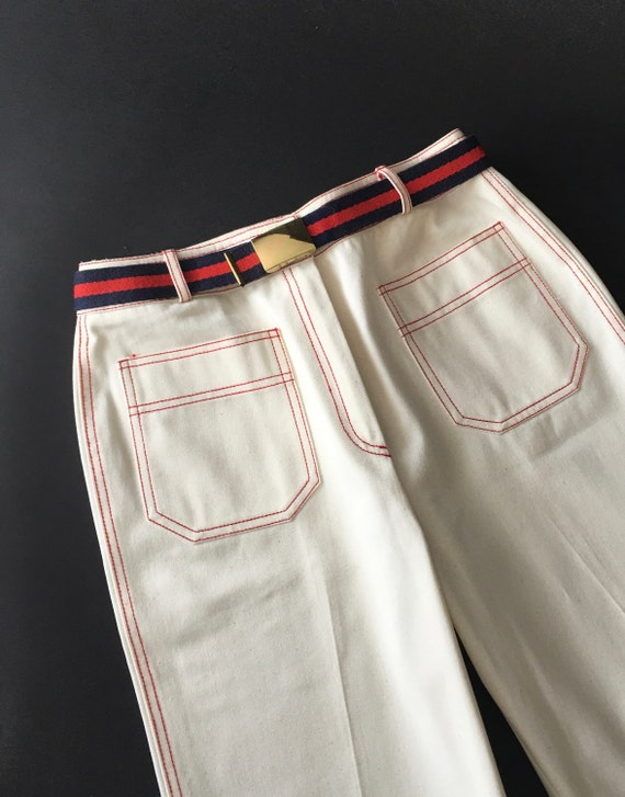 Vintage Jeans / 1970s Jeans / White Jeans / White