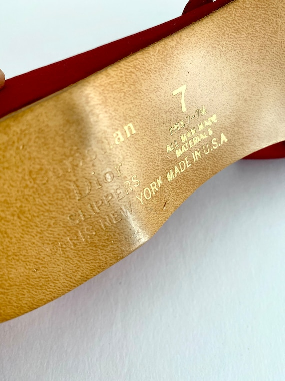 Vintage Red Slippers / Vintage House Slippers / D… - image 5
