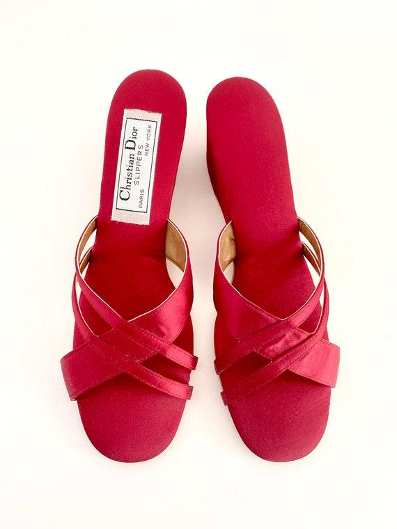 Vintage Red Slippers / Vintage House Slippers / D… - image 2