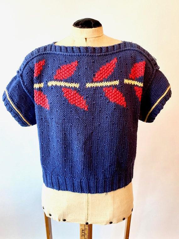Vintage 80s Sweater Chunky Knit Lizsport Navy Blue