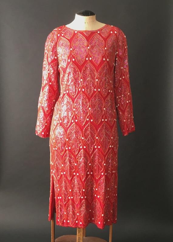 Vintage 80s Red Sequin Silk Dress